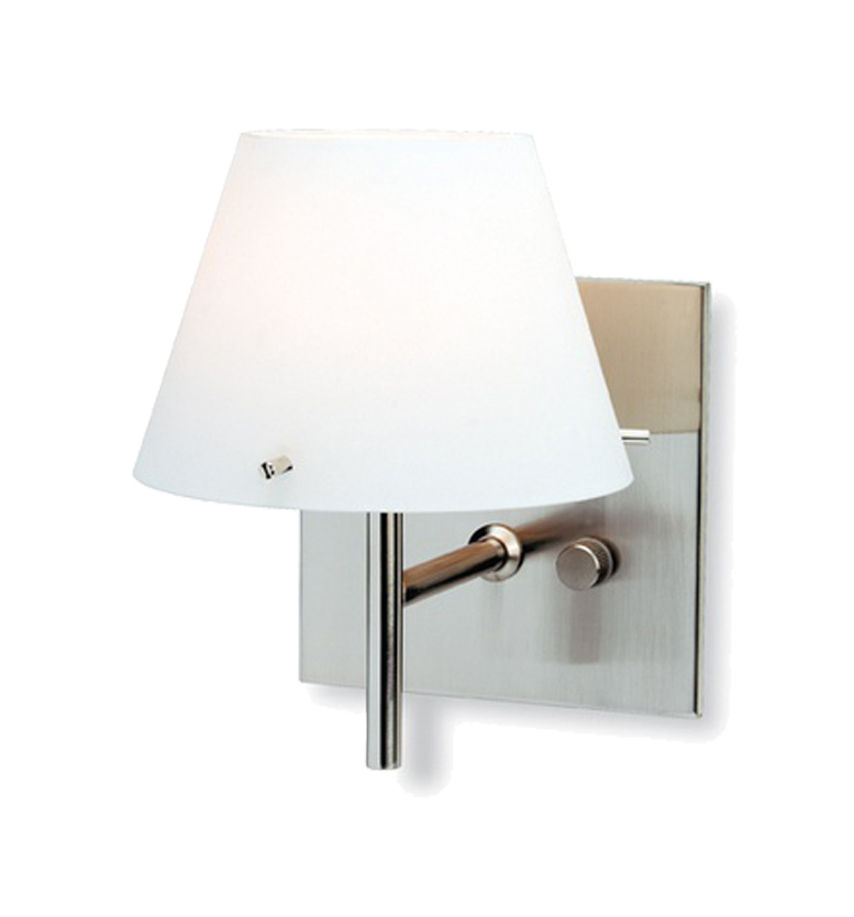 Firstlight Zara Wall Light & Dimmer Switch, Brushed Steel With Opal Glass - 5442BS from Easy ...