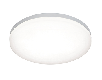 Endon Noble LED Round Flush Ceiling Light, Opal Polycarbonate & Silver Paint - 54479