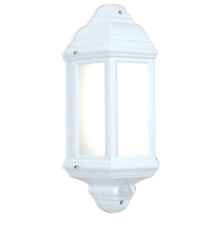 Endon Halbury PIR IP44 Half Lantern Outdoor Wall Light, Matt White Textured & Frosted ...