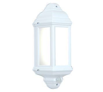 Endon Halbury PIR LED Half Lantern Outdoor Wall Light, Matt White Textured & Frosted Polycarbonate Finish - 54554