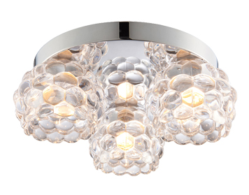 Endon Lawcross 3 Light Flush Ceiling Light, Clear Glass & Chrome Plate Finish - 55159