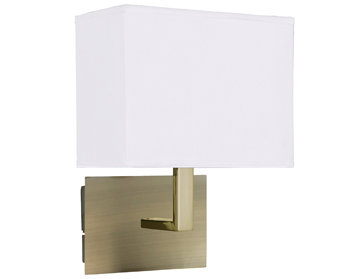 Searchlight 1 Light Switched Wall Light, Antique Brass Finish With Fabric Shade - 5519AB