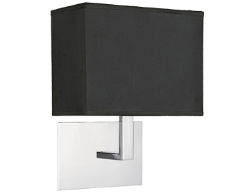 Searchlight 1 Light Switched Wall Light, Chrome With Black Fabric Shade - 5519CC-BK