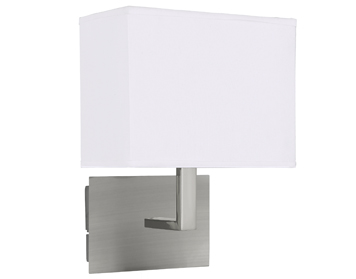 Searchlight 1 Light Switched Wall Light, Satin Silver Finish With Fabric Shade - 5519SS