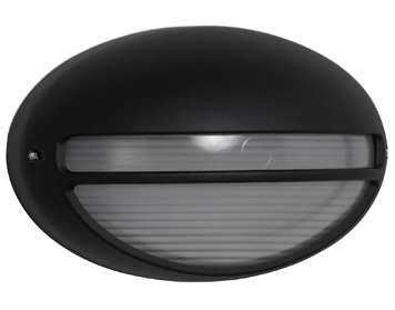 Searchlight 1 Light Oval Outdoor Wall Light, Black Finish - 5544BK