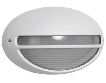 Searchlight 1 Light Oval Outdoor Wall Light, White Finish - 5544Wh