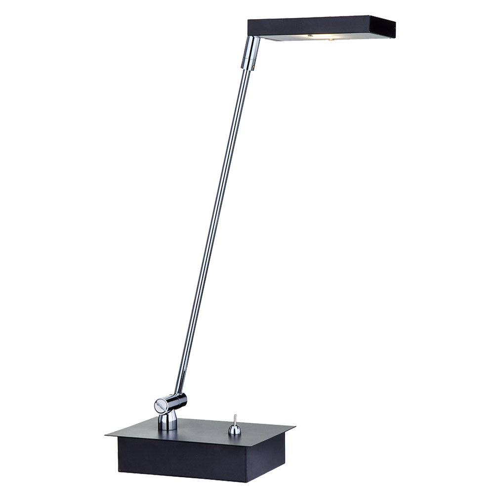 Searchlight LED Desk Lamp, Black & Polished Chrome - 5567BK