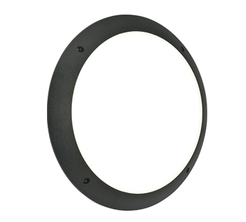 Endon Seran LED Plain Round Outdoor Wall Light, Matt Black Textured & Opal Polycarbonate - 55689