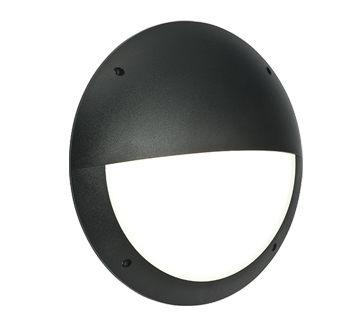 Endon Seran LED Eyelid Round Outdoor Wall Light, Matt Black Textured & Opal Polycarbonate - 55690