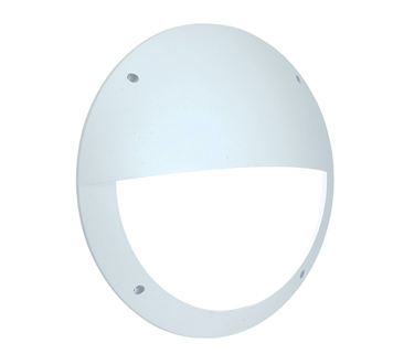 Endon Seran LED Eyelid Round Outdoor Wall Light, White Textured & Opal Polycarbonate - 55692
