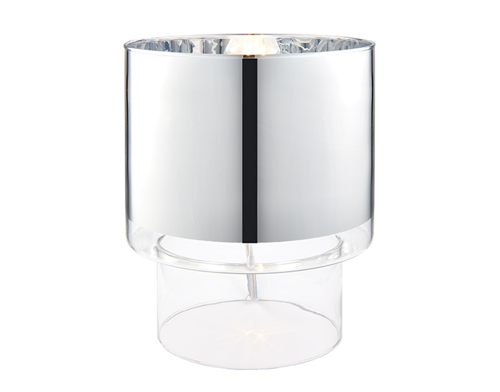 Contemporary table lamps from easy lighting endon miko switched table lamp chrome plated clear glass 55722 geotapseo Image collections
