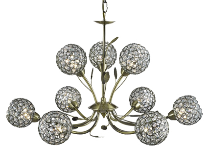 Searchlight Bellis II 9 Light Ceiling Light, Antique Brass With Crystal Cut Glass Shade - 5579-9AB
