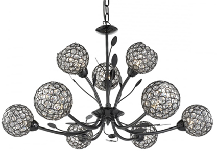 Searchlight Bellis II 9 Light Ceiling Light, Black Chrome With Clear Glass Shades - 5579-9BC