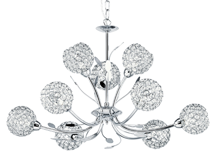 Searchlight Bellis II 9 Light Ceiling Light, Polished Chrome Finish With Crystal Cut Glass Shade - 5579-9CC
