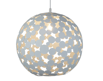 Searchlight Avalon 1 Light Large Pendant Light, Sand White Finish - 5609-40WH