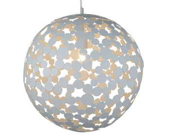 Searchlight Avalon 1 Light Large Pendant Light, Sand White Finish - 5609-50WH