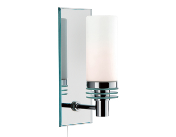 Searchlight Lima 1 Light Switched Bathroom Wall Light, Chrome Finish With Mirrored Backplate - 5611-1CC-LED
