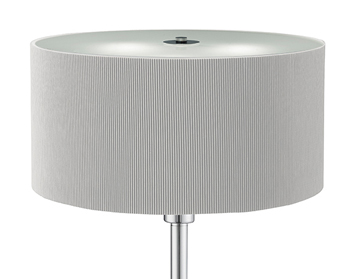 Searchlight Drum Pleat 3 Light Floor Lamp, Chrome Finish With Silver Shade - 5663-3SI