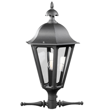 Konstsmide Pallas 1 Light Outdoor Post *Head Only*, Black Finish With Smoked Acrylic Panels - 567-750
