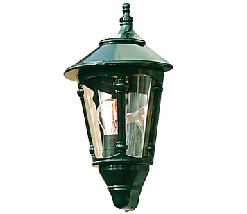 Konstsmide Virgo 1 Light Outdoor Half Wall Lantern, British Racing Green With Smoked Acrylic Panels - 569-600