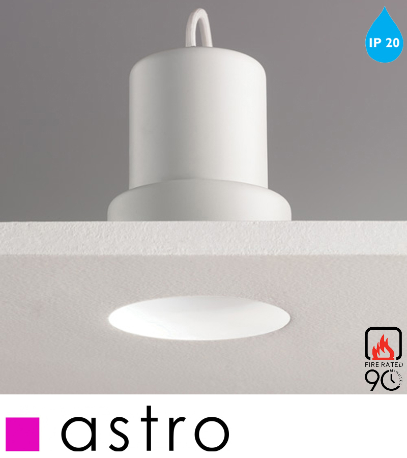 Astro Trimless Round Fire Rated Fixed LED IP20 Recess Spotlight White Finish