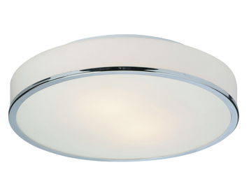 Firstlight Profile Round Flush Fitting Ceiling Light, Chrome Finish With Opal Glass - 5756CH