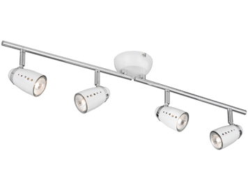 Searchlight Pluto 4 Light Bar Spotlights, White & Chrome Finish - 5764WH