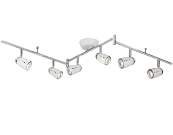 Searchlight Pluto 6 Light Bar Spotlight, White & Chrome Finish - 5766WH