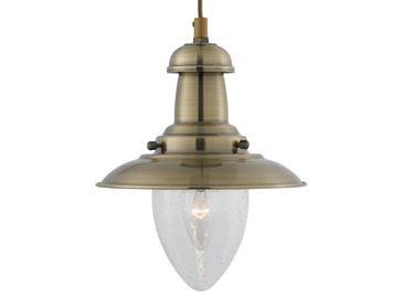 Searchlight Fisherman 1 Light Pendant Ceiling Light, Antique Brass Finish - 5787AB