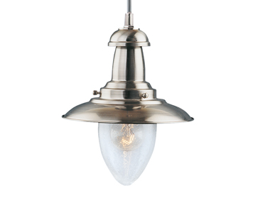Searchlight Fisherman 1 Light Pendant Ceiling Light, Satin Silver Finish - 5787SS