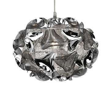 Searchlight Triangle 1 Light Pendant Ceiling Light, Chrome Finish - 5801-1SM