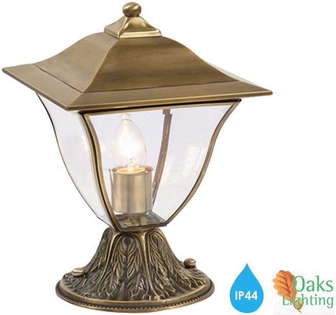 Oaks Lighting 39 Callan 39 IP44 Exterior Pedestal Light Brass Plate 58