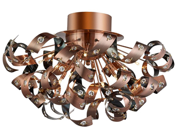 Searchlight 'Curls' 12 Light Semi-Flush Ceiling Light, Copper With Crystal Beads - 5812-12CU