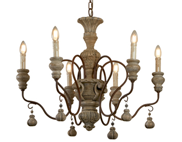 Searchlight Amalfi 6 Light Ceiling Light, Rustic Brown Weathered Wood Finish - 5836-6BR