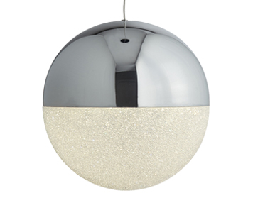 Searchlight Marbles 1 Light Globe LED Ceiling Pendant Light, Chrome Finish With Crushed Ice Effect Shade - 5841CC