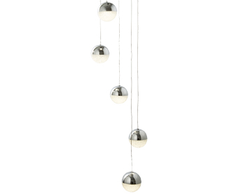 Searchlight Marbles 5 Light Globe LED Multi-Drop Pendant Ceiling Light, Chrome Finish With Crushed Ice Effect Shades - 5845-5CC