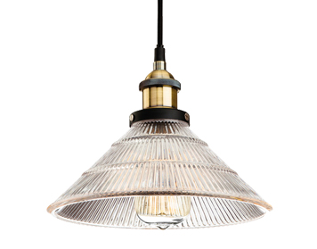 Firstlight Empire 1 Light Ceiling Pendant Light, Antique Brass Finish With Clear Fluted Glass Shade - 5902AB