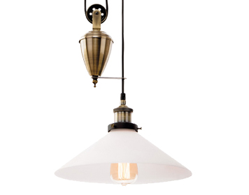 Firstlight Empire 1 Light Rise & Fall Ceiling Pendant Light, Antique Brass Finish With Opal Glass Shade - 5903AB