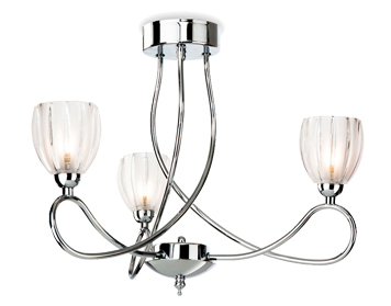 Firstlight Grove 3 Light Semi-Flush Ceiling Fixture, Chrome Finish With Frosted Glass Shades - 5918CH