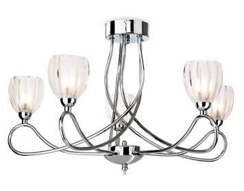 Firstlight Grove 5 Light Semi-Flush Ceiling Fixture, Chrome Finish With Frosted Glass Shades - 5919CH