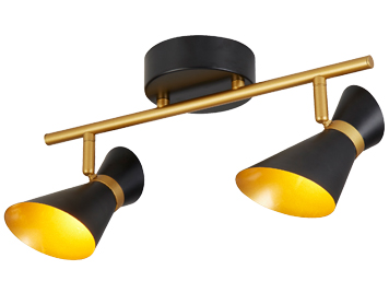 Searchlight Diablo 2 Light LED Bar Spotlight, Gold & Matt Black Finish - 5922BG