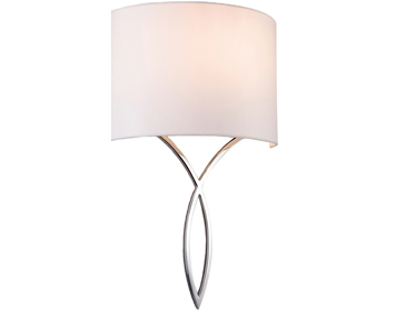Firstlight Conrad 1 Light Wall Light, Polished Chrome Finish & Cream Shade - 5931CH