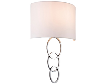 Firstlight Conrad 1 Light Wall Light, Polished Chrome Finish & Cream Shade - 5932CH
