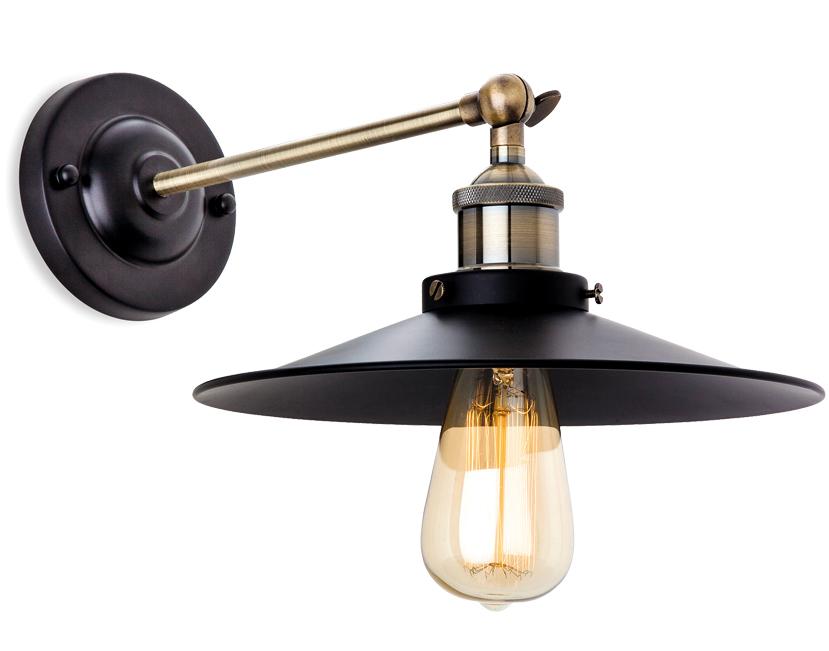 Firstlight Ashby 1 Light Wall Light, Antique Brass & Black Finish - 5933BK from Easy Lighting