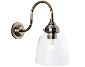Firstlight Victoria 1 Light Wall Light, Antique Brass With Clear Glass Globe Shade - 5936AB