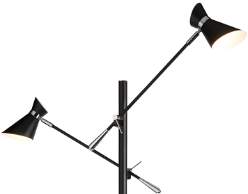 Searchlight Diablo 2 Light LED Floor Lamp, Chrome & Matt Black Finish With White Inner Shades - 5962-2BW