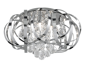 Searchlight Tilly 3 Light Flush Ceiling light, Chrome Finish With Intertwining Strips and Clear Glass Balls - 5973-3CC