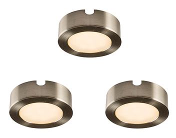 Endon Hera 3 Pack Kit 2.5W Warm White Under Cabinet LED Light, Satin Nickel Plate & Frosted Polycarbonate - 59853