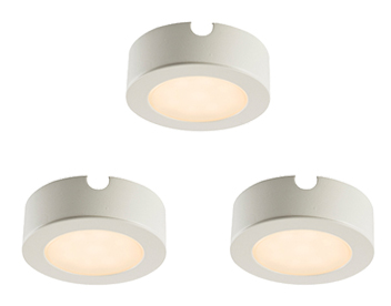 Endon Hera 3 Pack Kit 2.5W Warm White Under Cabinet LED Light, Matt White Paint & Frosted Polycarbonate - 59855