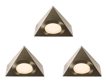 Endon Nyx 3 Pack Kit 2.5W Warm White Under Cabinet LED Light, Satin Nickel Plate & Frosted Polycarbonate - 59877